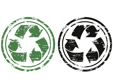 two color of grunge recycling stamp on white background   Vector