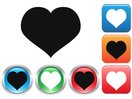 isolated heart shape Love buttons set from white background Stock Vector - 25127542