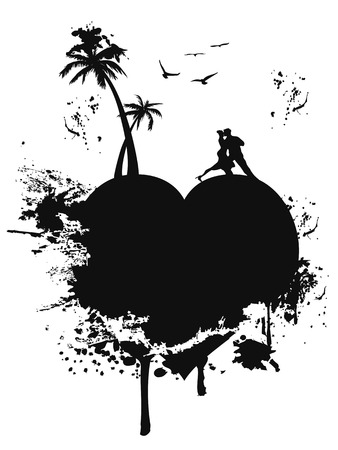 the groungy style of black love heart island on white background Vector