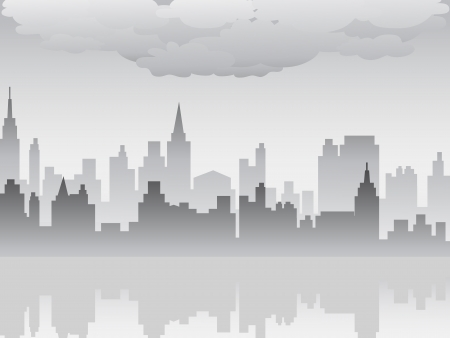 the pollution city filled with dirty pollution smog Vector