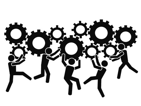 isolated teams working with gears from white