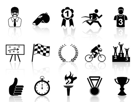 runner up: isolated black sport icons set from white
