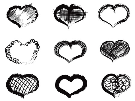 the sketch and doodle style of abstract heart icons Vector