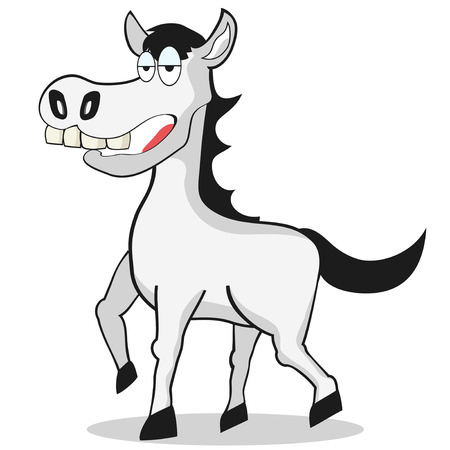 the cartoon style of funny white Horse  Vector
