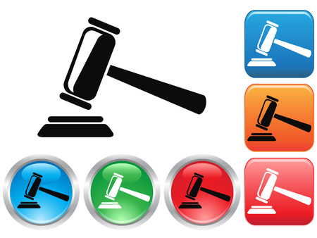 gavel: isolated Gavel button icons set from white