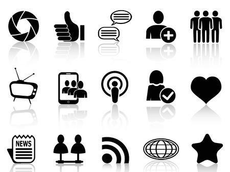 social networking: isolato nero social networking e di comunicazione set di icone da sfondo bianco