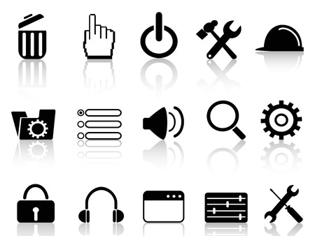 adjustable wrench: isolated black web work tool icons from white background