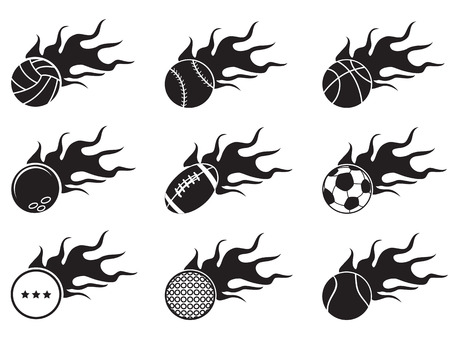 isolated black fire ball icons from white background Illustration