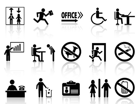 men at work sign: isolated office sign icons set from white background