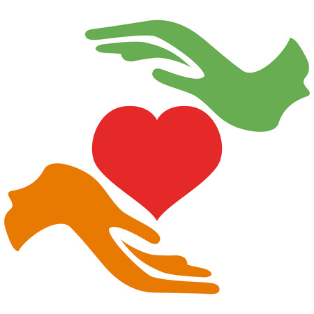 isolated two hands holding a red heart from white  Vector
