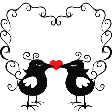 isolated two ornamental loving birds from white  Vector