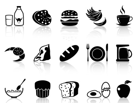 isolated black breakfast icons set on white background Vector