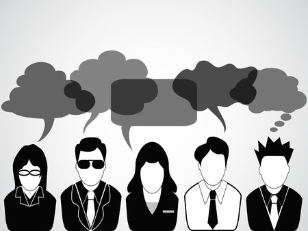 a group of business people communicated with speech bubbles Vector