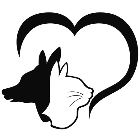 isolated Dog and cat with heart  Vector