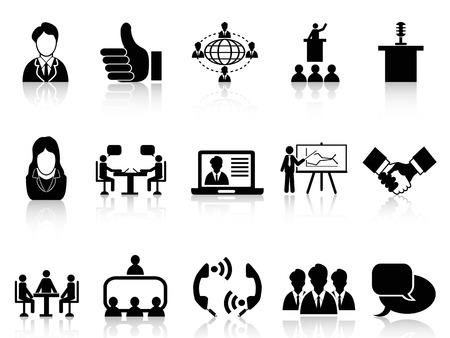 sala de reuniones: aislados iconos de reuniones de negocios negro establecidos en el fondo blanco