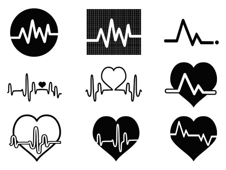 heart rate: isolated black heartbeat icons on white background