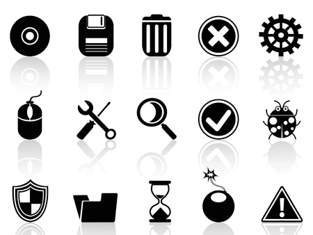 isolated black software icons set on white background Vector
