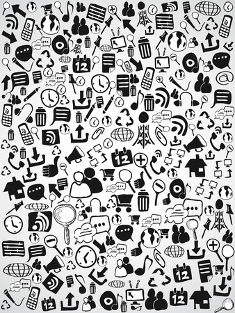 the background of doodle web icons for web design Vector