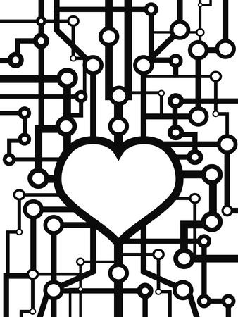 the background of heart circuit design Vector
