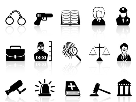 isolated black Law and Justice icons set on white background Vector