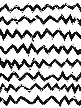 the grunge background of black hand drawn zig zag patterns Vector
