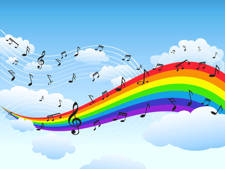 the nature background of rainbow with music notes Vectores