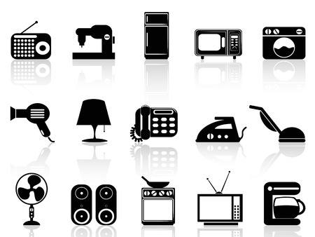 isolated black Home appliances icon set on white background Vector