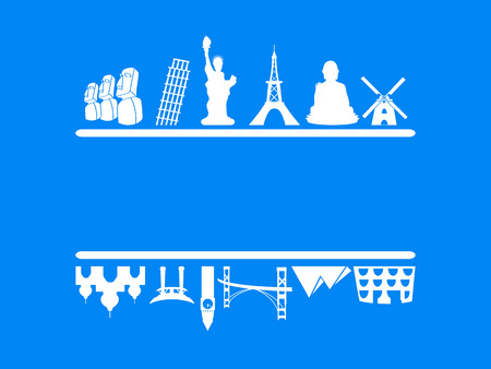 historic building: isolated tourism and travel frame on blue background Illustration