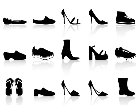 isolated black shoes icons on white background Иллюстрация
