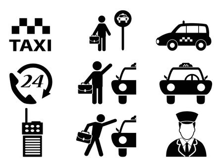 isolated black taxi icons set on white background Vector