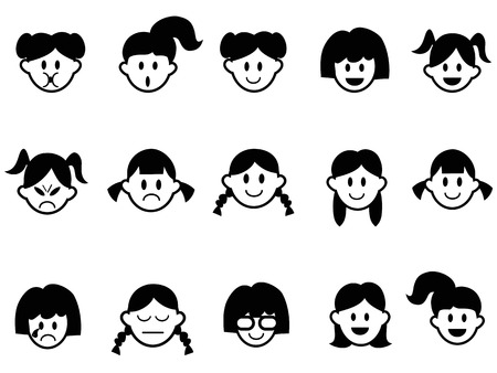 isolated girls emotion face icons from white background Vector