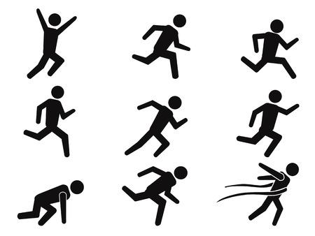 salud y deporte: aislados corredor negro iconos figura de palo establecidos de fondo blanco