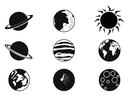 solar symbol: isolated black solar planet icons from white background