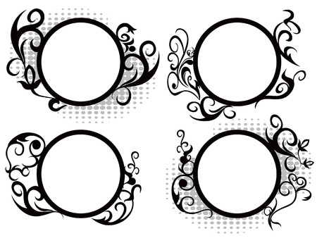 isolated black Circle floral frame decoration from white background Vector