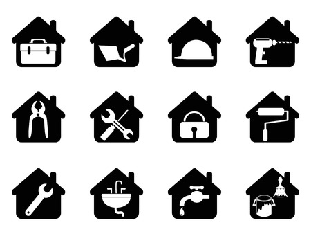 isolated black house with tools icon from white background Ilustração