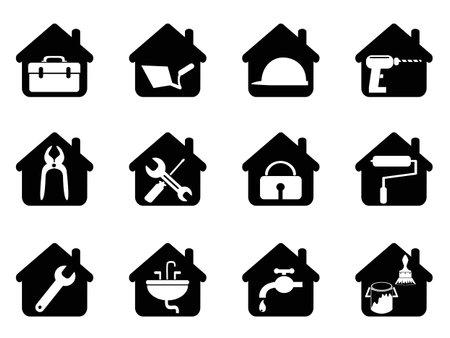 isoliert schwarzes Haus mit Tools Symbol aus weißem Hintergrund Illustration