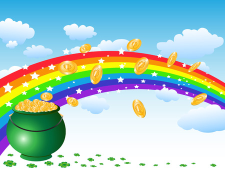 ireland: the background of pot of gold coins and rainbow on the sky for st patrick day