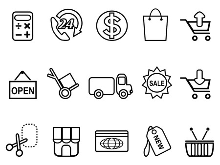 isolated shopping line icons set from white background Vector