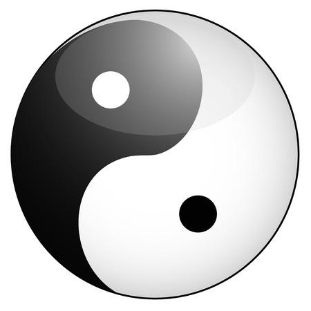 good karma: isolated glossy yin yang symbol from white background