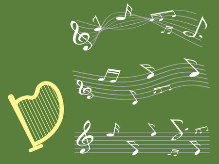 the background of harp with music note for st patrick day Vector
