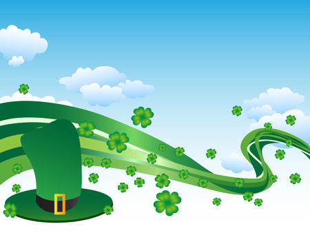 the green hat with clover leaves and curved line Vector