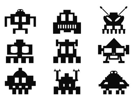 invaders: iconos aislados Space Invaders establecidos de fondo blanco Vectores