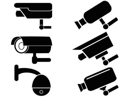 security camera: isolated black surveillance security camera icons set from white background Illustration