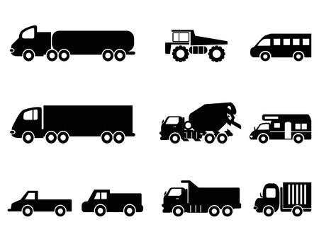 camión cisterna: aislados iconos de camión negro establecidos de fondo blanco