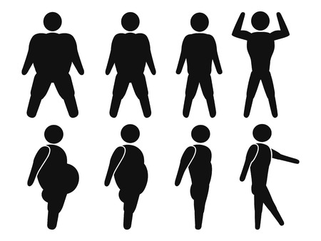 isolated male stick figure From Fat to fit from white background Vector