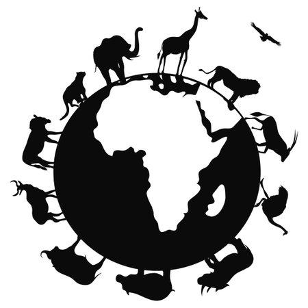 흰색 배경에 세계의 고립 된 아프리카의 동물