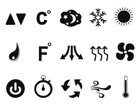isolated black air conditioner icons set from white background 일러스트
