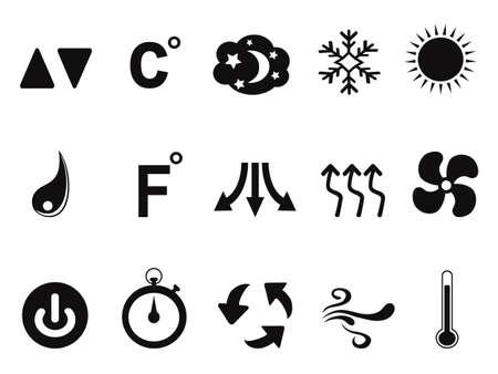 Geïsoleerde zwarte airconditioner pictogrammen instellen van een witte achtergrond Stockfoto - 27360246