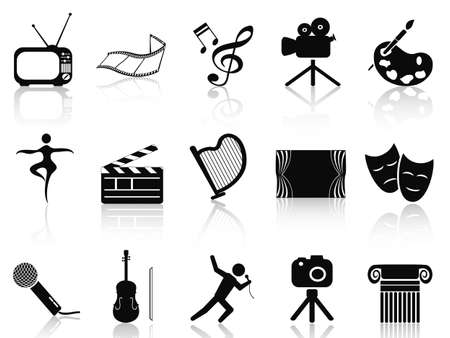 performing: isolated black art concept icons set from white background
