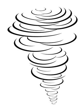 isolated black tornado symbol from white background Vettoriali